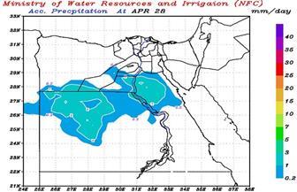 """""""الري"""": أمطار خفيفة على عدد من المناطق غدًا.. تبلغ ذروتها على سيناء السبت.. وتصل القاهرة أول مايو"""