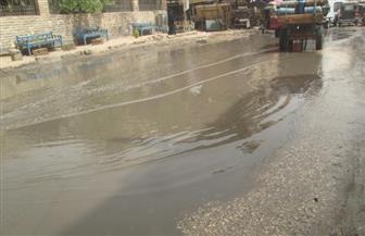 انفجار ماسورة مياه بالطريق العام بمدينة إسنا جنوب الأقصر
