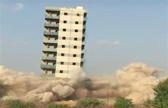 تفجير برج سكني مخالف بالديناميت فى القليوبية   فيديو