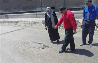 هبوط أرضي بمطلع كوبري القباري في الإسكندرية