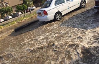 كسر ماسورة مياه يتسبب في كثافات مرورية بزهراء المعادي | صور