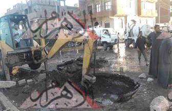 غرق الشوارع بإسنا جنوب الأقصر بسبب انفجار ماسورة بالخط الرئيسي| صور