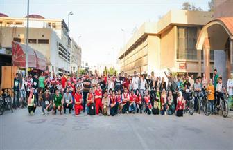 ماراثون للدراجات على هامش اليوم العالمي لمكافحة الفيروسات بجامعة المنصورة