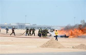 تجربة طوارئ لحريق وتفكيك قنبلة في طائرة بمطار الغردقة الدولي | صور