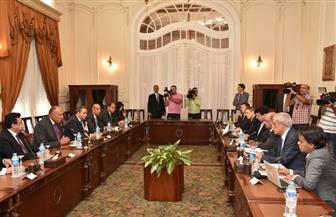 الخارجية تعلن تفاصيل لقاء وزير الخارجية سامح شكري بنظيره الجزائري عبدالقادر مساهل