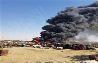 الدفع بـ13 سيارة اطفاء للسيطرة على حريق مخزن الكاوتش بالقطامية