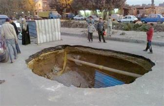 كثافات مرورية بحدائق حلوان بسبب هبوط أرضي