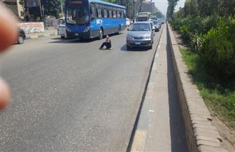 سيدة تجلس منتصف شارع الهرم وتلوح للمارة بسلاح أبيض| فيديو