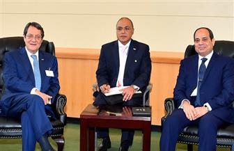 الرئيس السيسي ونظيره القبرصي يؤكدان تنفيذ المشروعات المشتركة في إطار آلية التعاون الثلاثي