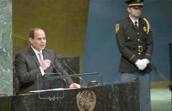 """الرئيس السيسي يختتم كلمته في الأمم المتحدة بترديد شعار """"تحيا  مصر""""  3 مرات"""