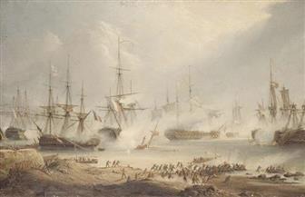 عرض قطعة من علم المملكة المتحدة الذي رفع في معركة الطرف الأغر عام 1805 في مزاد