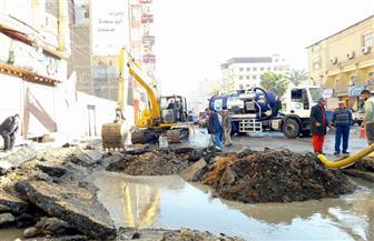 انفجار خط طرد صرف صحي بشارع عبد السلام عارف في المنصورة |صور