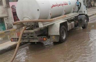 استمرار أعمال شفط مياه الأمطار في دمياط