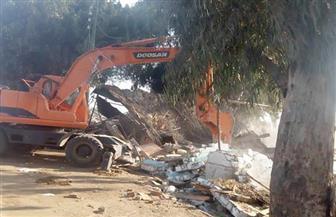 حملة موسعة لإزالة التعديات على نهر النيل في منشأة القناطر| صور