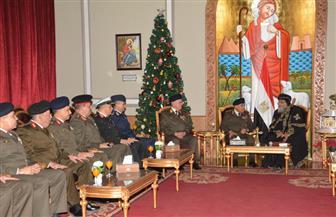 صدقي صبحي ومحمد فريد يقدمان التهنئة للبابا تواضروس الثاني بمناسبة عيد الميلاد المجيد