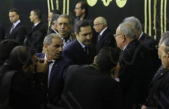 علاء مبارك والمناوي وعزت العلايلي في عزاء إبراهيم نافع