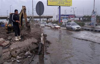 العاملين بالأحياء ورئاسة المدن بالدقهلية ينتشرون بالشوارع لتصريف مياه الأمطار| صور