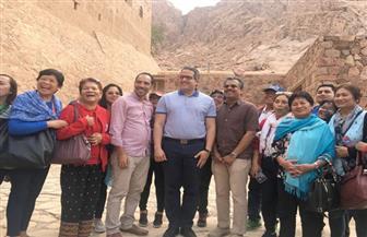 وزير الآثار يتفقد دير سانت كاترين بصحبة 15 سفيرا أجنبيا | صور
