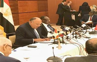شامح شكري يلقي كلمة مصر في الاجتماع التحضيري للجنة الرئاسية المشتركة مع السودان