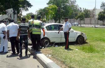 """إصابة شخصين في حادث انقلاب سيارة بـ""""صلاح سالم"""".. وتصادم سيارتين أعلى كوبرى أكتوبر"""