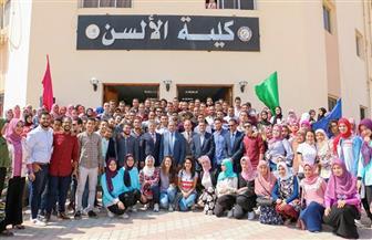رئيس جامعة بني سويف يشهد حفل استقبال الطلاب الجدد بكلية الألسن