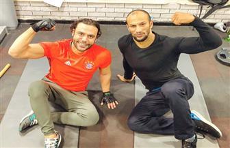 """محمد إمام مع كرم جابر فى الجيم: """"رب الكون ميزنا بميزة.. أحلى تمرينة مع بطل العالم"""""""