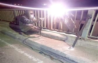 """""""الجيزة"""": تدعيم الأسوار الحديدية بمحور صفط اللبن بحواجز إضافية  صور"""