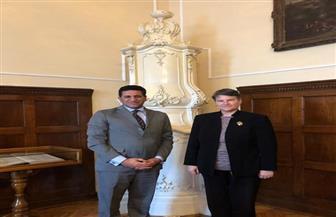 سفير مصر لدى صربيا يبحث مع رئيسة جامعة بلجراد التعاون في مجال تدريس علوم المصريات واللغة العربية  صورة