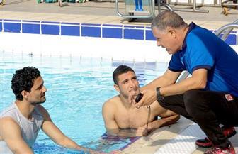 تدريبات تأهيلية لنجيب وربيعة في حمام السباحة