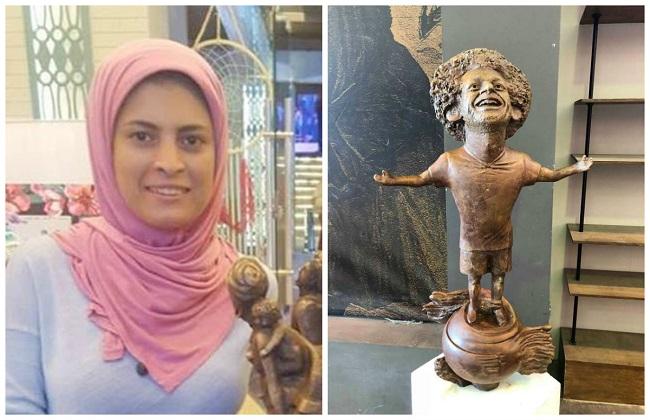 مي عبدالله لـبوابة الأهرام البرونز ظلم تمثال محمد صلاح المشارك في منتدى شباب العالم