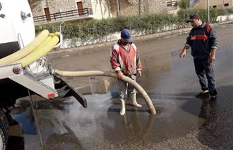 رفع تراكمات مياه الأمطار من شوارع مدينة دمياط