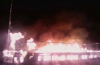 تفحم مركب نيلي جنوبي الأقصر في حريق هائل | صور