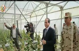"""الرئيس السيسي يشاهد فيلما تسجيليا بعنوان """"فجر جديد"""" حول مشروع الزراعات المحمية"""