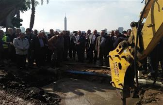 محافظ القاهرة يتفقد إصلاح ماسورة الكورنيش أمام مبنى التليفزيون | صور