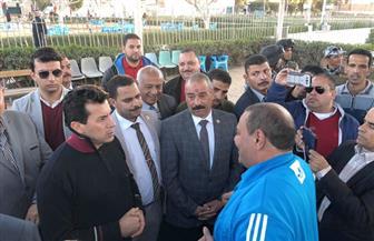 وزير الشباب والرياضة يتفقد مراكز شباب دفنو وأطسا وإستاد محافظة الفيوم | صور