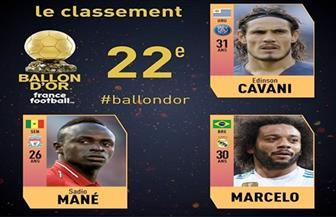 ماني وكافاني ومارسيلو يحتلون المركز 22 في ترتيب الكرة الذهبية