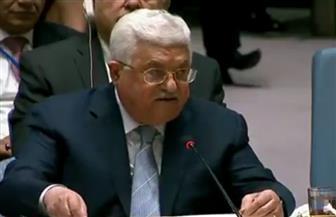 محمود عباس يغادر قاعة مؤتمرات مجلس الأمن الدولي أثناء إلقاء كلمة المندوب الإسرائيلي