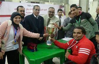 """جامعة المنيا تفوز بالمركز الأول في بطولة """"رفع الأثقال"""" بأسبوع  """"متحدي الإعاقة"""""""