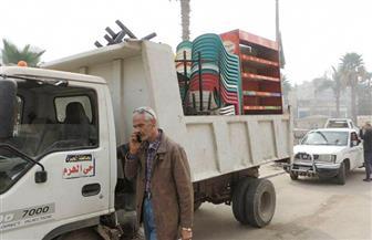حملة لإزالة التعديات والباعة الجائلين بمنطقة الأهرامات | صور