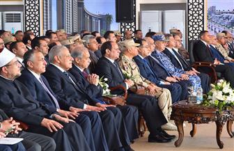 """الرئيس السيسي يشهد فيلما تسجيليا عن """"أمان للمصريين"""" خلال حفل تدشين العلمين الجديدة"""