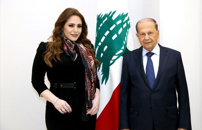 عبير نعمة تلتقي الرئيس اللبناني ميشال عون بوابة الأهرام