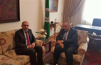 سامح شكري يستقبل وزير خارجية الأردن بالجامعة العربية
