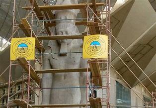وزير الآثار يتفقد أول عملية تجميل وصيانة شاملة لتمثال الملك رمسيس الثاني منذ نقله من ميدانه