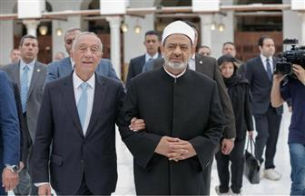 الإمام الأكبر يصطحب الرئيس البرتغالي في جولة بالجامع الأزهر |صور