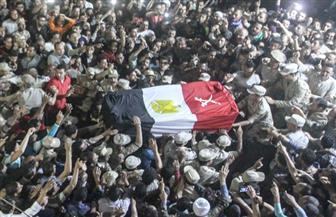 قرية صراوة بالمنوفية تودع شهيدها في جنازة عسكرية مهيبة | صور