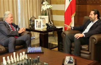 حسين فهمي يلتقي رئيس الوزراء اللبناني ويزور ضريح رفيق الحريري