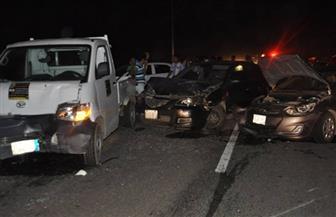 إصابة شخصين فى حادث تصادم ٥ سيارات أعلى محور صفط اللبن بسبب الأمطار
