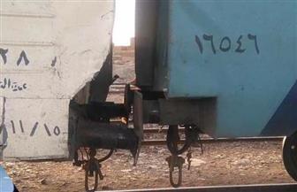 تصادم قطارين في حوش قطارات منطقة السد العالي بأسوان | صور