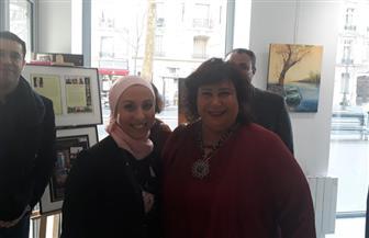 """وزيرة الثقافة تشهد افتتاح معرض """"حياتنا من خلال الألوان"""" بالمركز المصرى بباريس"""