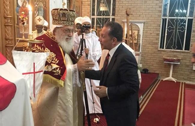سفير مصر ببريتوريا ينقل تهنئة الرئيس السيسى لأقباط المهجر بالكنيسة القبطية بجنوب إفريقيا   صور -